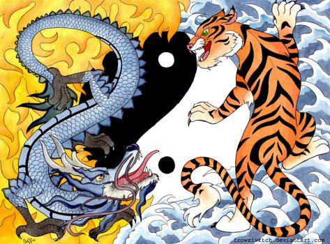 Tiger vs Dragon by frowzivitch