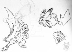Old Art-Electric Pokemon by Inkblot-Rabbit