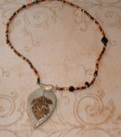 Gold Leaf Necklace by MollyD