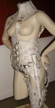 Side View of White Denna Mord-sith Armor by ValkyrieLeather