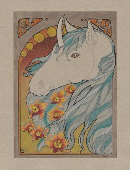 Art Nouveau Unicorn by wolfgryph