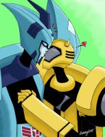 Blurr x Bee: Kiss by bunnybot