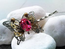 Aether Steampunk butterfly pin by sodacrush