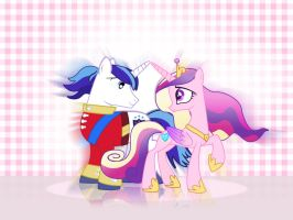 Shining Armor and Cadance MLP Wallpaper by LaurentChokobita