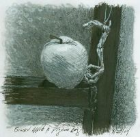 bruised apple and pigeon leg by stupidmops