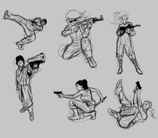 Action poses study by SugaryAshes