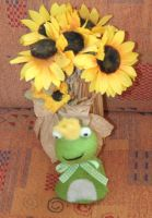 happy frog with sunflowers by ingeline-art