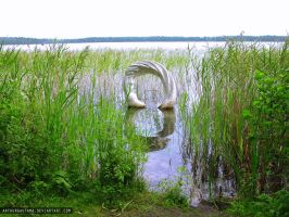 Sculpture in the lake by ArthurGautama
