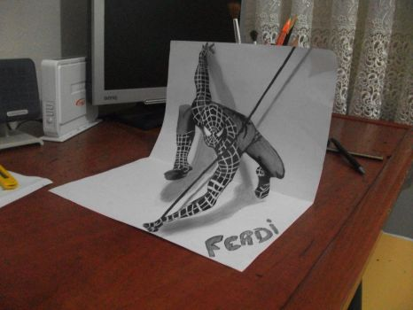 3D Art Drawing - Spider Man by vexilloid