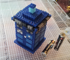 3D Mini Tardis Perler Beads by Undertakoshi