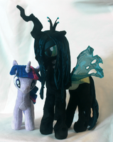 Queen Chrysalis and Twilight comparison by WhiteHeather