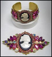 Cameo Demi Parure in Pinks by moonspheres