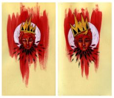 Red Portrait Diptych by manfishinc