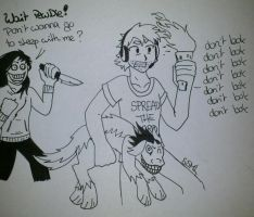 PewDiePie meets Jeff the Killer -lineart- by SunShineMoonLight