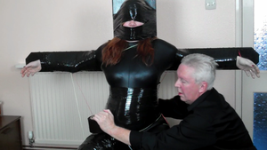 Karina Glued to Slave Chair with Twine and Tape 2 by BritBastard