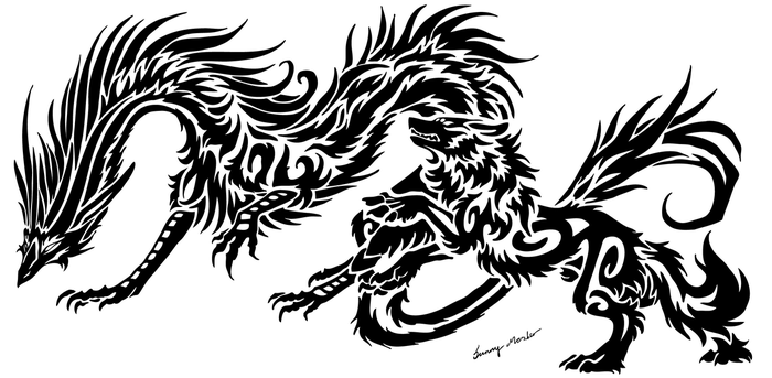 Tattoo deviantart for Dragon and wolf tattoo
