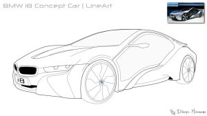 BMW i8 Concept Car LineArt by DJnetZ