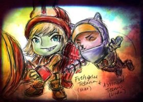 Tristana and Teemo by baottousai