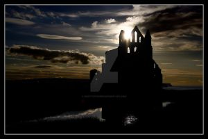 Sundown at Whitby Abbey by GaryTaffinder