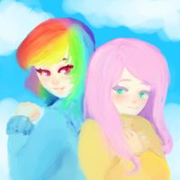 Fluttershy And Rainbowdash sketch humans? by CuddlesDaKat