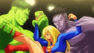 Supergirl vs Hulks by Raliuga999