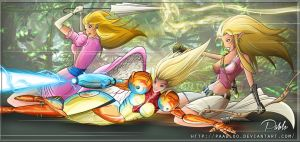 Nintendo's Angels (Peach Samus Zelda) by PAabloO