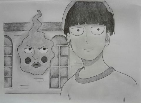 Kageyama Shigeo/Mob and Ekubo ~ Mob Psycho 100 by Optimistic-Alpaca