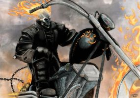 Ghost Rider - Coloured Pencil by StingRoll