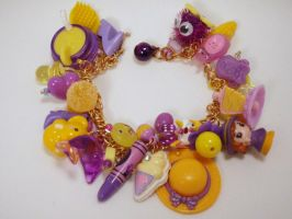 Lemon Grape Charm Toy Box Bracelet Purple Yellow by PoniesOfDOOOM