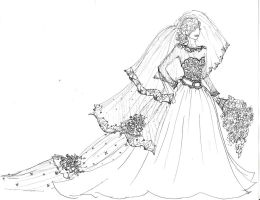 Royal Wedding Gown sketch by Laureliz456