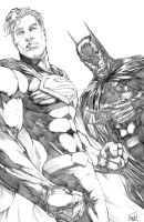 Superman and Batman Pencils by hanzozuken