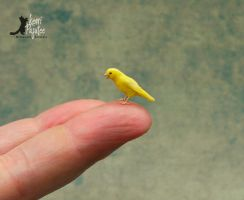 Miniature Singing Canary sculpture... by Pajutee