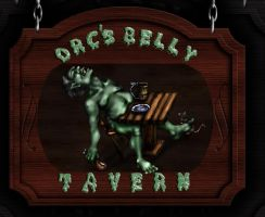Orc's Belly Tavern Sign by TheDarkestwolf