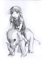 Girl And The Elephant by lordless
