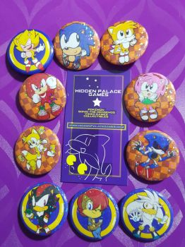 .:Sell:. Sparkle Sonic Pinback Buttons by SEGAMew