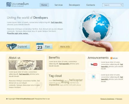 Web 2.0 comany template by bevel-and-emboss