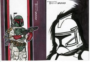 fett and clone trooper cards by TomKellyART
