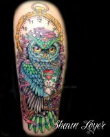 Owl Color Tattoo by DBASHAUN