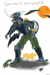 Chipper Weredragon! (colored lineart) by V8Arwing67