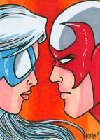 Sketchcard Hawk and Dove by RichBernatovech