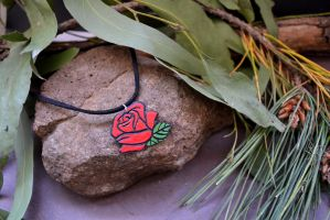 Rose Polymer Clay Pendant by xxLadyBaba