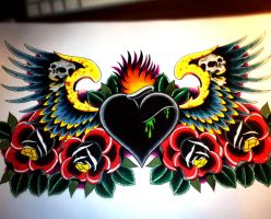 Heart chestpiece with wings roses by jerrrroen