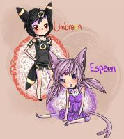 Umbreon and Espeon by Sarucho