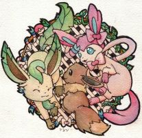 Eevee family by SilkenCat
