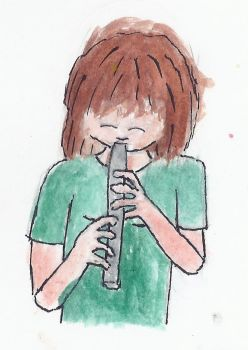 Girl And Flute by echodvcc
