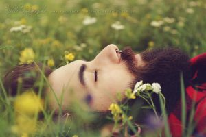 The bearded man in the flower field 2 by Estelle-Photographie