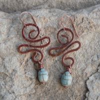 Egyptian Scarab Earrings by deej240z