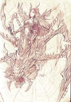 Pencil: Arachnide Queen by zamboze