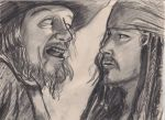 Barbossa and Jack Sparrow by Swashbookler