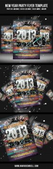 New Year Party Flyer Template by MarioGembell